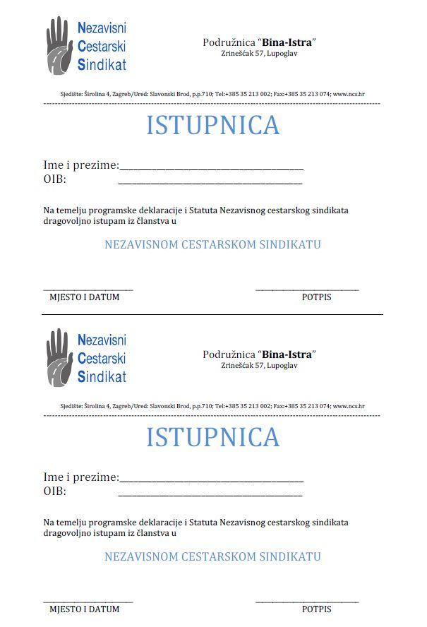Istupnica iz članstva u NCS-u u Bina Istri
