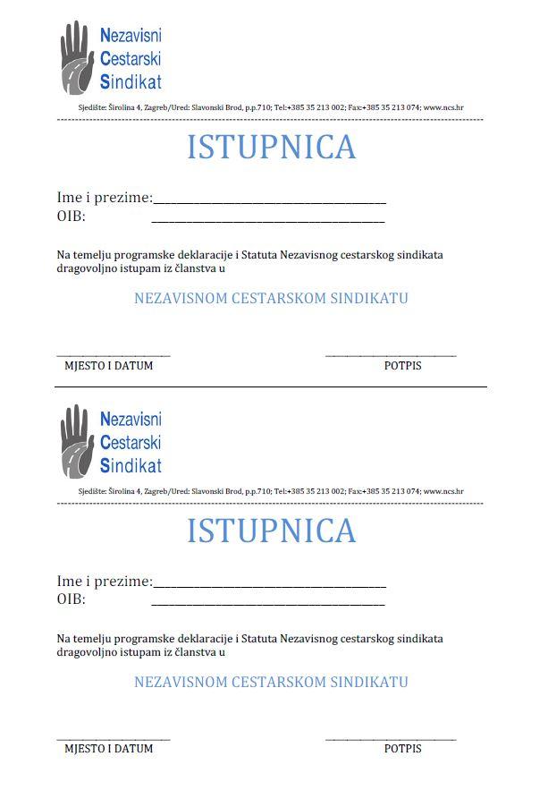 Istupnica iz članstva u NCS-u