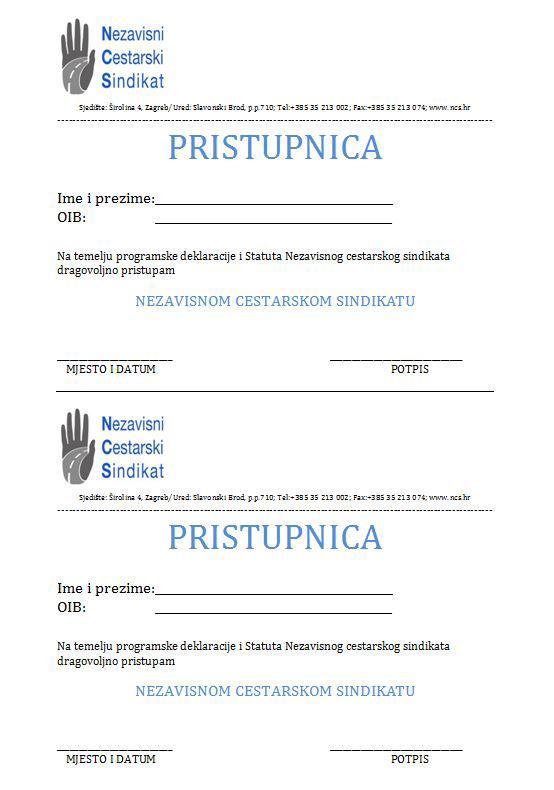 Pristupnica NCS-u