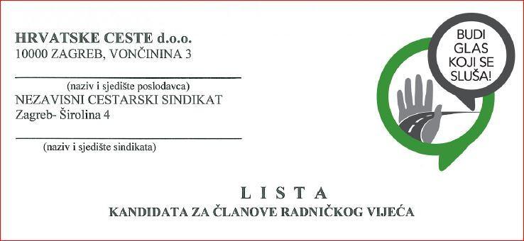 Lista kandidata za Radničko vijeće Hrvatskih cesta