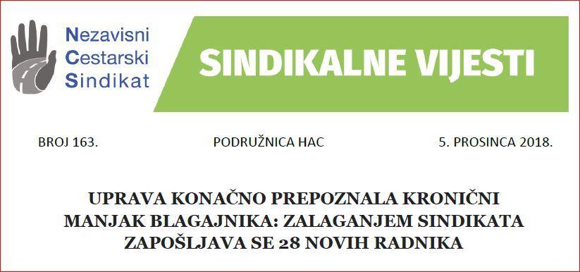 Sindikalne vijesti br. 163