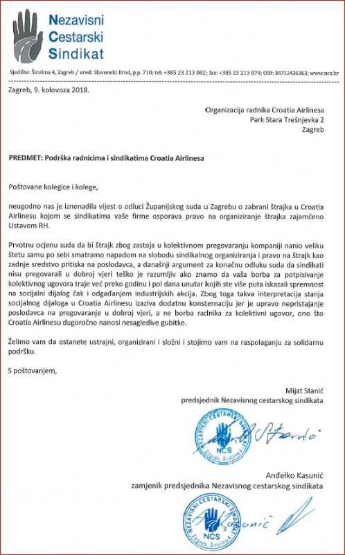 Podrška radnicima i sindikatima Croatia Airlinesa