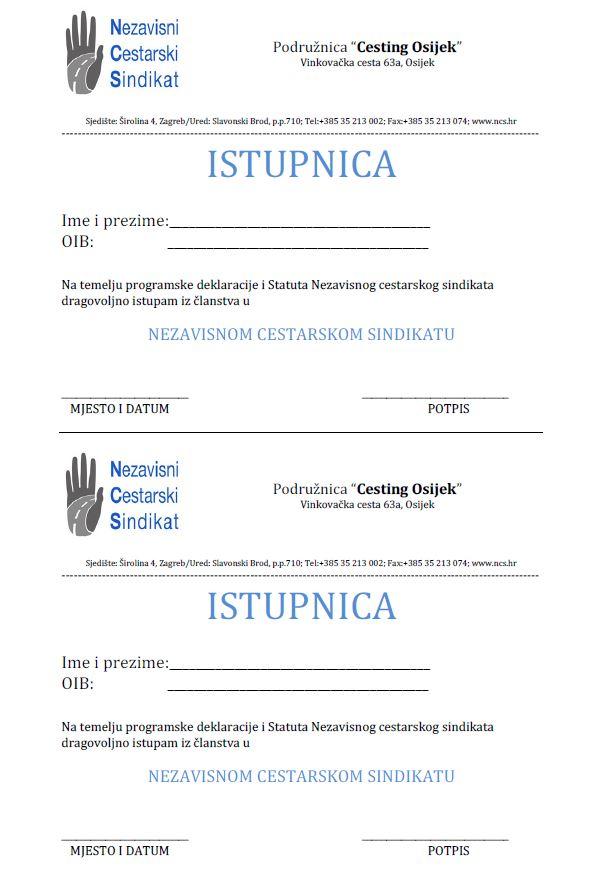 Istupnica iz članstva u NCS-u za Cesting Osijek