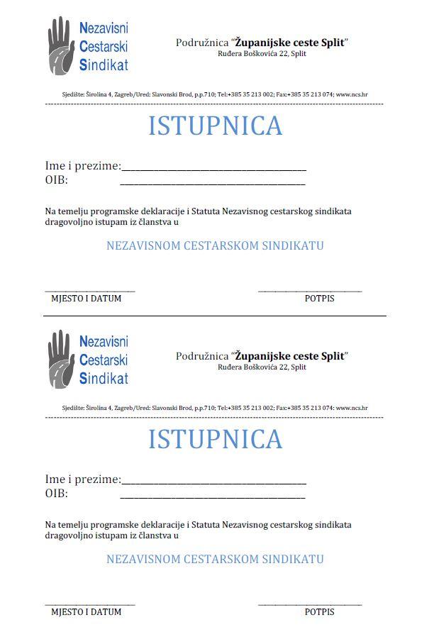 Istupnica iz članstva u NCS-u u Podružnici ZC Split