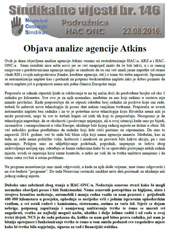 Objava analize agencije Atkins