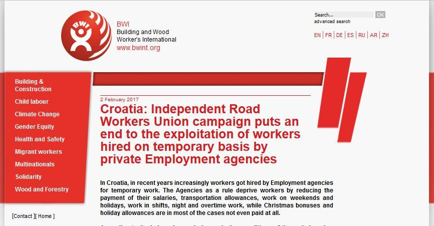 Croatia: Independent Road Workers Union campaign puts an end to the exploitation of workers hired on temporary basis by private Employment agencies