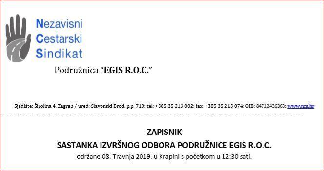 ZAPISNIK  SASTANKA IZVRŠNOG ODBORA PODRUŽNICE EGIS R.O.C.