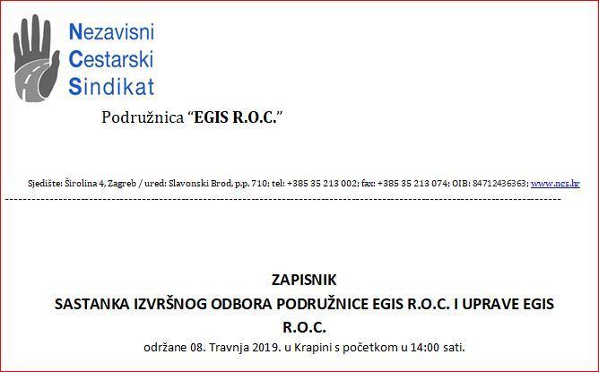 ZAPISNIK  SASTANKA IZVRŠNOG ODBORA PODRUŽNICE EGIS R.O.C. I UPRAVE EGIS R.O.C.