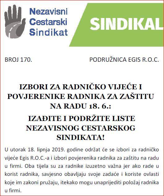 IZBORI ZA RADNIČKO VIJEĆE I POVJERENIKE RADNIKA ZA ZAŠTITU NA RADU 18. 6. 2019.