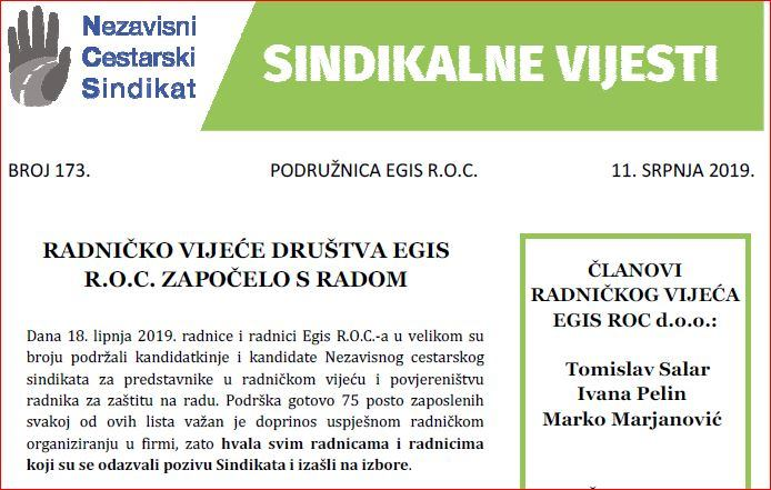 Sindikalne vijesti br. 173
